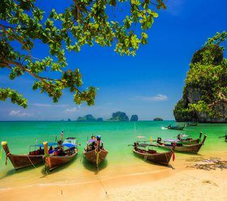 Обои на телефон остров, природа, пляж, море, лодка, лето, зеленые, дерево, boats on beach