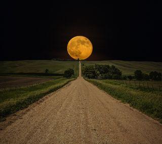 Обои на телефон путь, поле, ночь, луна, дорога