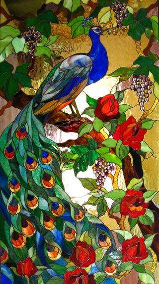 Обои на телефон павлин, цветы, стекло, окрашенный, stained glass