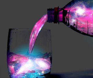 Обои на телефон бутылка, стекло, серые, розовые, галактика, galaxy