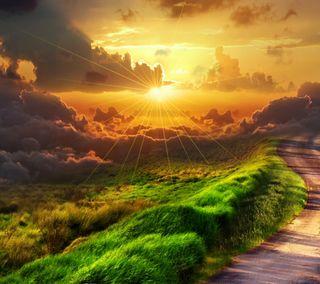 Обои на телефон небеса, путь, природа, восход