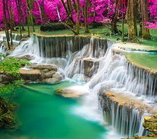 Обои на телефон водопад, природа, осень, лес, камни, вода, cascading waterfall
