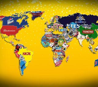 Обои на телефон карта, пиво, напиток, мир, логотипы, бренды, алкоголь