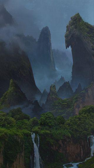 Обои на телефон остров, неизведанный, лес, горы