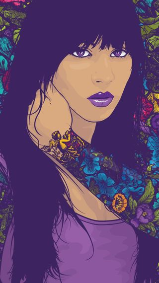 Обои на телефон тату, фиолетовые, девушки, арт, art