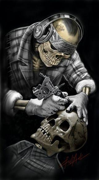 Обои на телефон татуировки, мрачные, жнец, череп