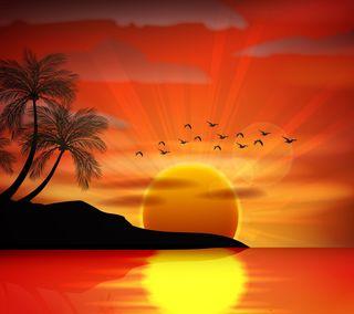 Обои на телефон тропические, солнце, рай, отражение, океан, пляж, закат