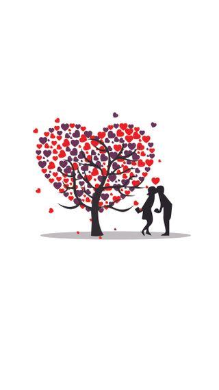 Обои на телефон валентинка, черные, фиолетовые, сердце, красые, дни, дерево