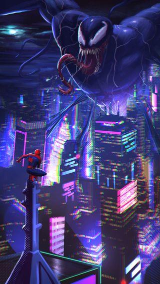 Обои на телефон эффект, человек паук, против, ночь, марвел, город, веном, spiderman vs venom, marvel