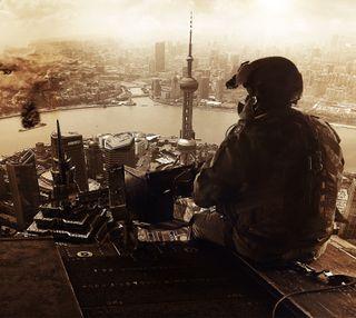 Обои на телефон оружие, вид, арт, армия, enjoying the view, bf4, bf, battlefield 4, battlefield, art
