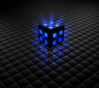 Обои на телефон куб, lighted cube, 3д, 3d
