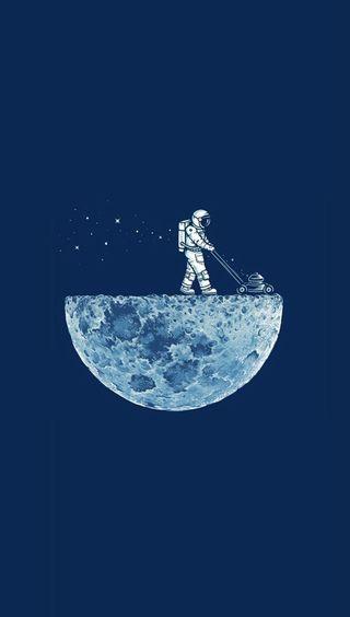 Обои на телефон космонавт, луна, забавные, lawn mower