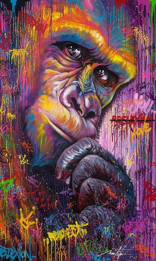 Обои на телефон рисунок, обезьяны, граффити, цветные, горилла, арт, art