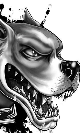 Обои на телефон собаки, черные, удивительные, опасный, крутые, дизайн, белые, арт, barking, art