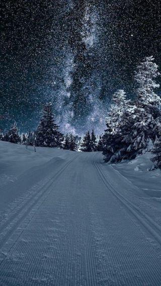 Обои на телефон естественные, снег, сияние, зима, аврора, nuit, neige, hiver, froid, etoile
