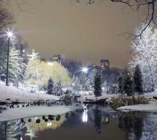 Обои на телефон холод, снег, свет, река, зима, дерево, город