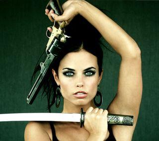 Обои на телефон меч, катана, девушки, воин, revolver