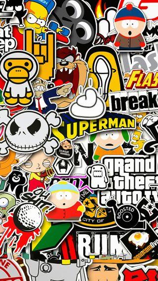 Обои на телефон наклейки, гта, мультики, логотипы, бренды, арт, sticker wallpaper, art