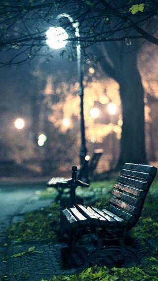 Обои на телефон скамейка, парк, природа, одинокий, огни, ночь, lonely bench