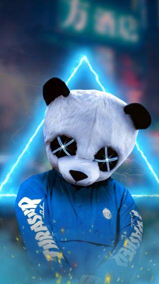"""Обои на телефон фотошоп, треугольник, панда, неоновые, маска, жизнь, животные, дым, арт, triangleneon, panda mask, art, SHERIF, PANDA, Man"""", """"panda"""