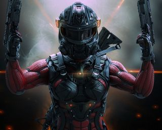 Обои на телефон шлем, солдат, робот, оружие, женщина, woman soldier