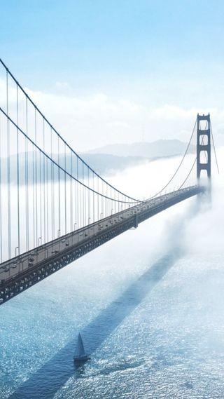 Обои на телефон мост, золотые, ворота, us
