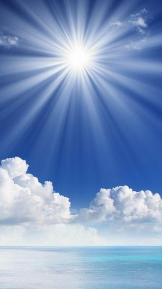 Обои на телефон солнечный свет, солнце, синие, природа, небо, море