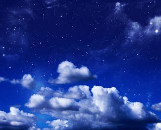 Обои на телефон глубокие, синие, облака, небо, deep blue sky, axtone