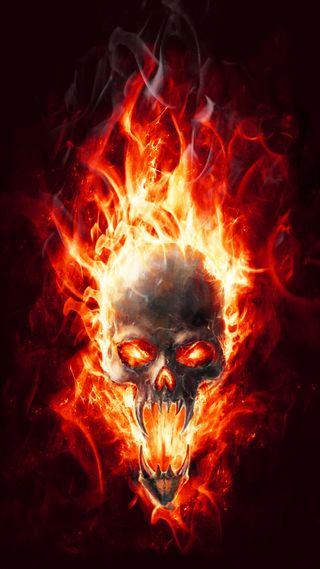 Обои на телефон пламя, череп, огонь, flaming skull, flame skull