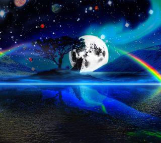 Обои на телефон яркие, радуга, планеты, луна, бок, bright side of moon