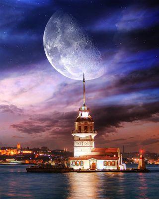 Обои на телефон город, башня, стамбул, пейзаж, города