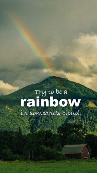 Обои на телефон радуга, цитата, облака, деревья, горы, вдохновляющие, barn