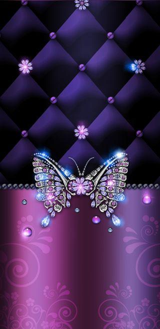 Обои на телефон симпатичные, фиолетовые, розовые, драгоценность, бабочки, jeweled butterfly