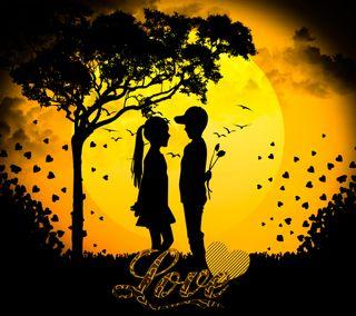 Обои на телефон i love you, love, любовь, закат, дерево, ты, птицы, парень, любимая девушка