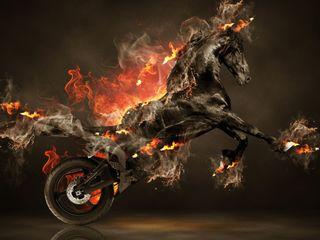 Обои на телефон колеса, черные, огонь, лошадь, дикие, motocycle, black horse