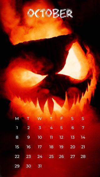 Обои на телефон октябрь, календарь, zedgeoct18, october jackolantern
