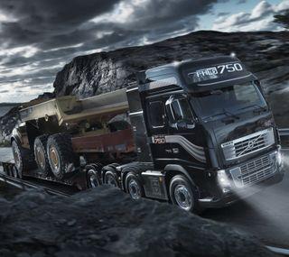 Обои на телефон трактор, грузовик, темные, облачно, ночь, дорога, автомобили, volvo