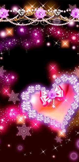 Обои на телефон девчачие, симпатичные, сердце, сверкающие, розы, розовые, прекрасные, красочные, блестящие