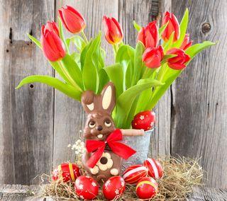 Обои на телефон bunny tulips, easter celebration, красые, пасхальные, украшение, тюльпаны, кролик, празднование, яйца, декор