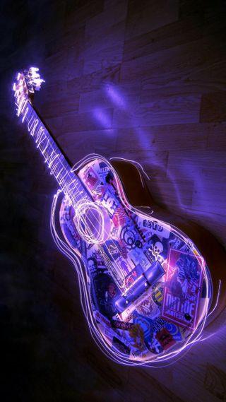 Обои на телефон нить, гитара, неоновые, музыка