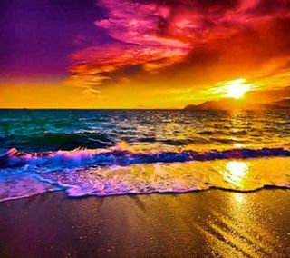 Обои на телефон берег, радуга, пляж, закат, восход