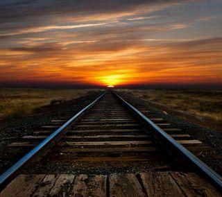Обои на телефон путь, поезда, облака, небо, закат, дорога