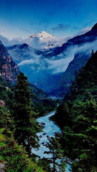 Обои на телефон река, природа, пейзаж, небо, горы, nature landscape
