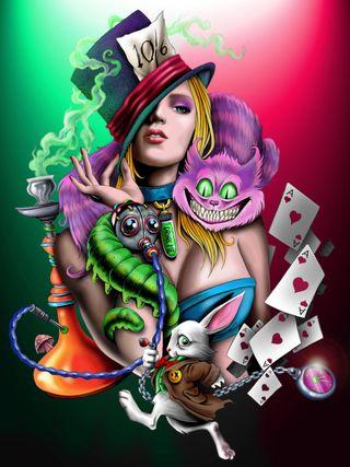 Обои на телефон кошки, цветные, алиса, alice 2