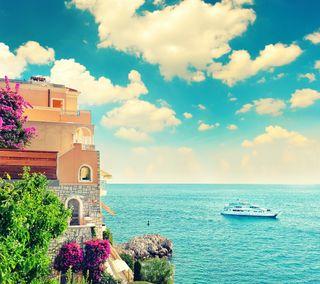 Обои на телефон море, цветы, синие, природа, прекрасные, небо, лодки, вода, вид