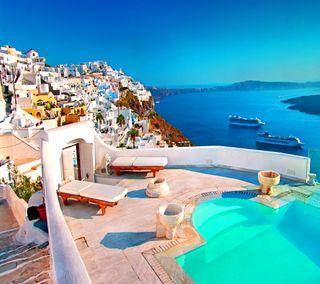 Обои на телефон beautiful greece, water houses sky, santorini greece, прекрасные, небо, вода, греция, дома