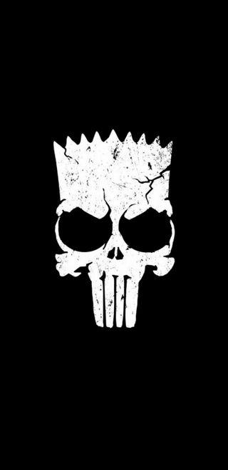 Обои на телефон барт, череп, симпсоны, note 8, bart simpsons skull
