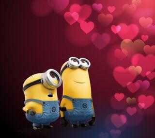 Обои на телефон валентинки, сердце, розовые, пузыри, миньоны, милые, любовь, minion love, love
