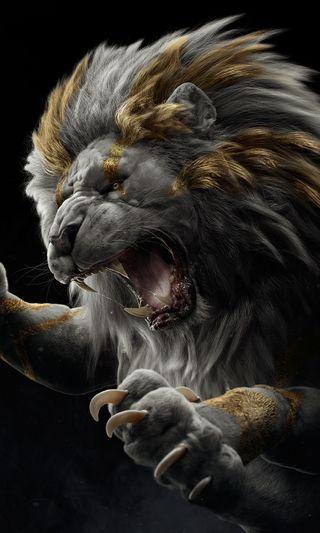 Обои на телефон тигр, сова, обезьяны, лицо, лев, золотые, белые, атака, арт, art
