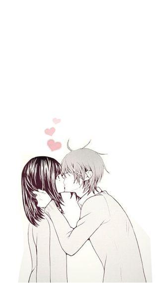Обои на телефон поцелуй, мальчик, девушки, аниме